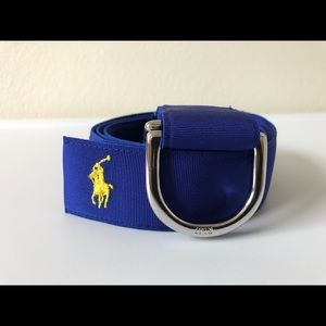 Ralph Lauren Blue Grosgrain Ribbon O Ring Belt